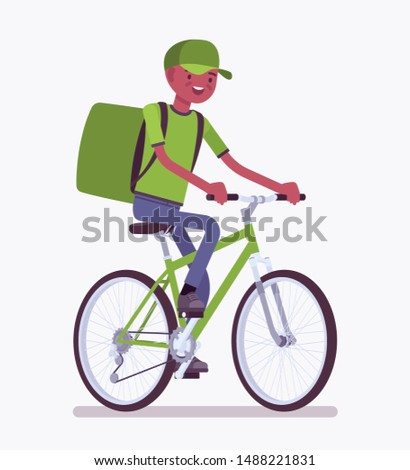 Bicycle delivery black boy. Courier service worker on bike delivers food, order, parcel to customer, online ordering city shipping. Vector flat style cartoon illustration isolated, white background