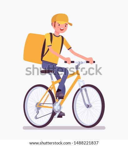 Bicycle delivery boy. Courier service worker riding a bike delivers food, order or parcel to customer, online ordering city shipping. Vector flat style cartoon illustration isolated, white background