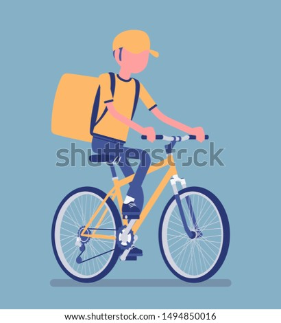Bicycle delivery boy. Courier service worker riding a bike delivers food, order or parcel to customer, online ordering city shipping. Vector illustration with faceless character