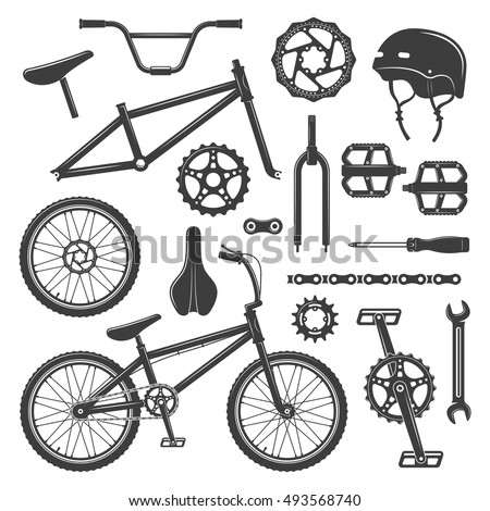 Bicycle equipment and parts set of vector black icons, symbols and design elements isolated on white background. Sport bmx bike with repair components illustration