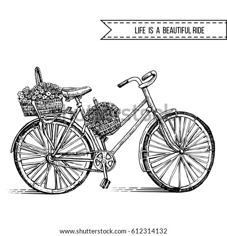 bicycle hand drawn vector...