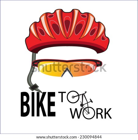 bicycle helmet and sun glasses