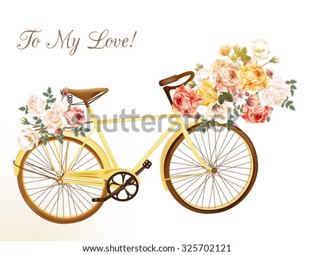 Bicycle in a yellow color with basket fully of rose flowers
