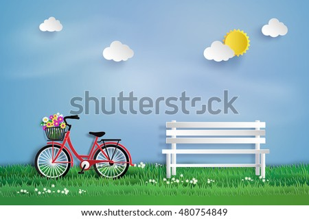 Bicycle in the garden with  white bench.paper art style.