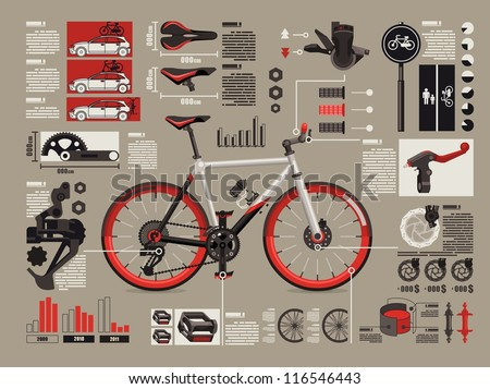 bicycle info graphics, - stock vector