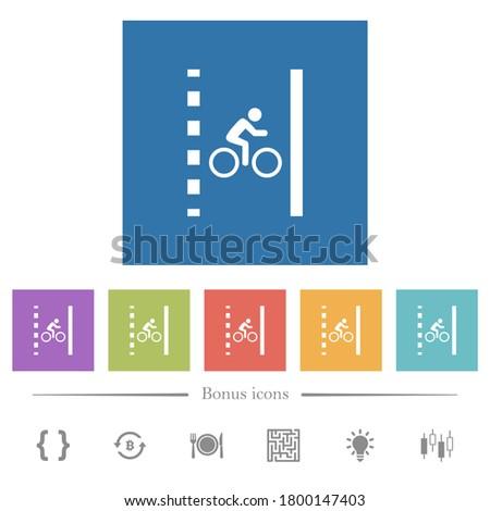 bicycle lane flat white icons