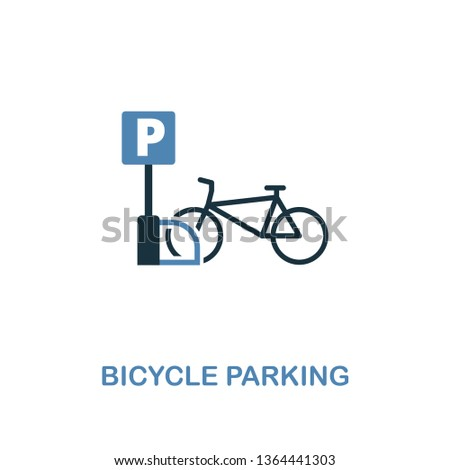 bicycle parking icon in two