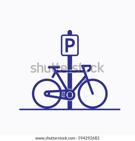 Bicycle Parking Icon. Sign Flat Cycle Symbol Vector Silhouette blue Color