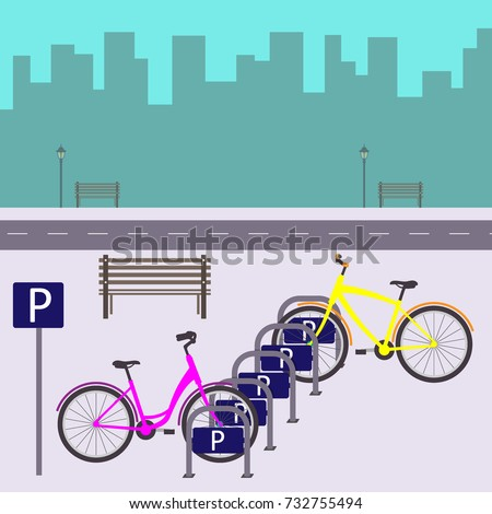 bicycle parking on a city