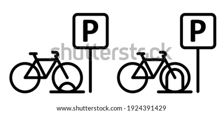 Bicycle parking space zone or bike rack. Sport cyclist banner. Cycling icon. Flat vector bike to parking stand area sign.   Zdjęcia stock ©