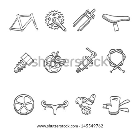 Bicycle part icons series  in sketch