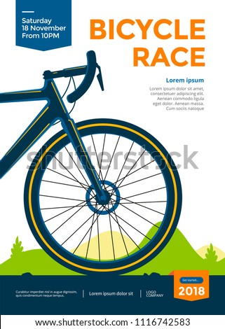Bicycle race poster design. Cycling championship flyer template. Vector illustration