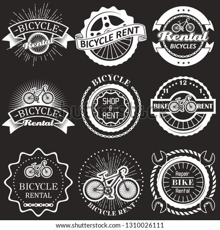 Bicycle rental vintage badges, labels, emblems and logo. Vector monochrome illustration. Bike rent, shop and repair typography.