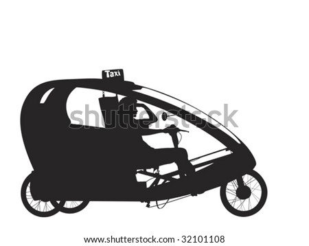 bicycle rickshaw silhouette