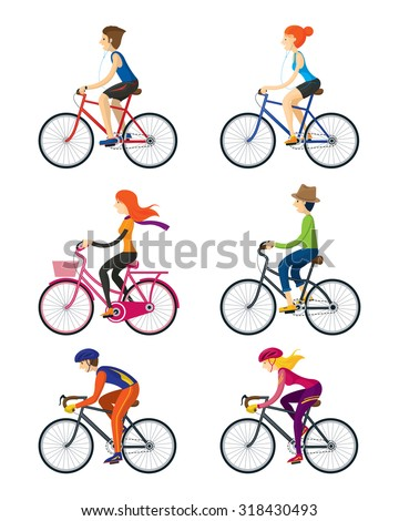 bicycle riders  man  woman
