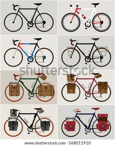 bicycle set city bicycles