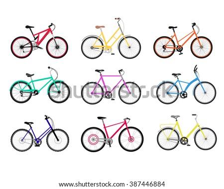 bicycle set design flat isolated