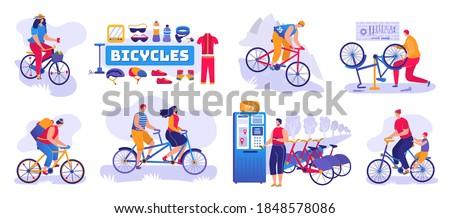 Bicycle shop set of isolated vector illustration. Bikes and bicycles store, repair shop service. Cycles wheels, accessories, tools and cloths. Tandem and bicycling machines station. Wheelman.