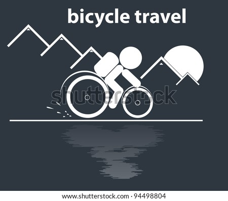 bicycle travel in mountain vector