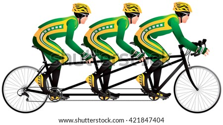 Bicycle triples or triplets tandem racers realistic color vector illustration, cycle race derby sport series