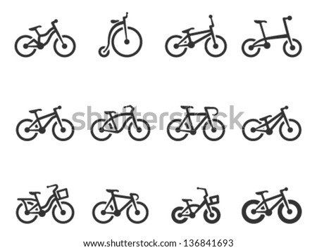 Bicycle type icons in single color