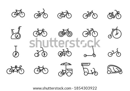 Bicycle types vector linear icons set. Outline symbols pack with editable stroke. Collection of simple 20 bicycle types icons isolated contour illustrations. bmx, touring, dirt, female bike.