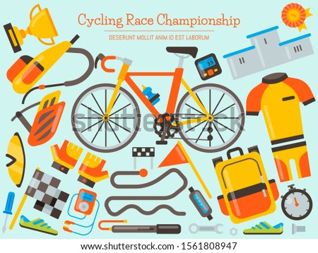 Bicycle uniform and sport accessories banner vector illustration. Bike activity, cycling accessory and sports equipment, competition races for landing pages.