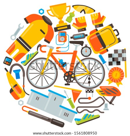 Bicycle uniform and sport accessories set vector illustration. Bike activity, cycling equipment and sports accessory for competitions
