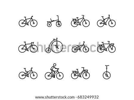 bicycle vector icon set in thin