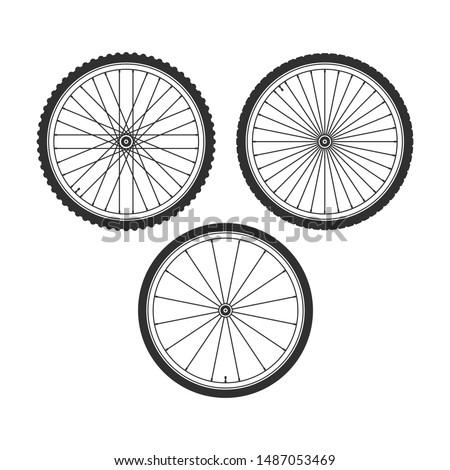 bicycle wheel icons set bike