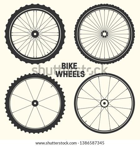 Bicycle wheel symbol vector illustration. Bike rubber mountain tyre, valve. Fitness cycle, mtb, mountainbike. Foto stock ©