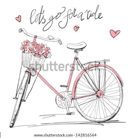 stock-vector-bicycle-with-a-basket-full-of-flowers