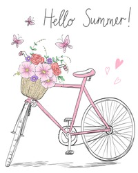 Bicycle with a basket full of flowers on background with butterflies and inscription Hello Summer! Vector illustration.
