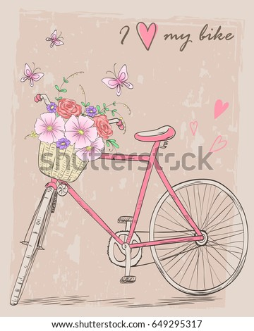 Bicycle with a basket full of flowers on background with butterflies and inscription I love my bike. Vector illustration.