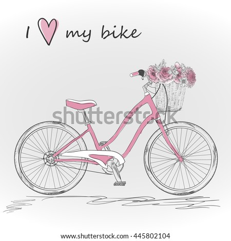 Bicycle with a basket full of flowers. Vector illustration.
