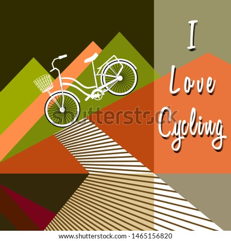 Bicycle with basket drives down. Stylized mountains silhouettes. Bike Lane. Lettering - I Love Cycling. Trendy flat style. Design for cycling clubs, cycling marathon, cycle routes. Vector illustration