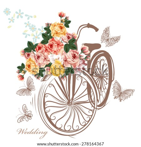 Bicycle with basket fully of rose flowers and butterflies around it. Cute vector illustration with bike and beautiful rose flowers. Ideal for invitation design, save the date, wedding and other