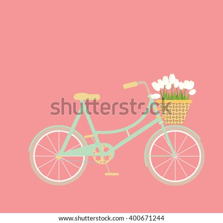 bicycle with wicker basket of