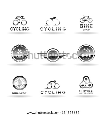 bicycles and cycling. icons set....