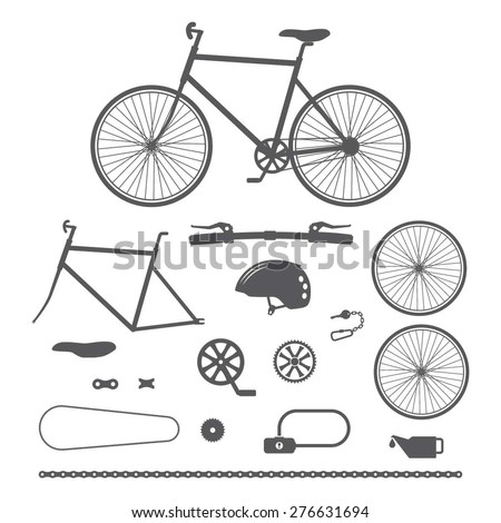 bicycles  bike accessories icons