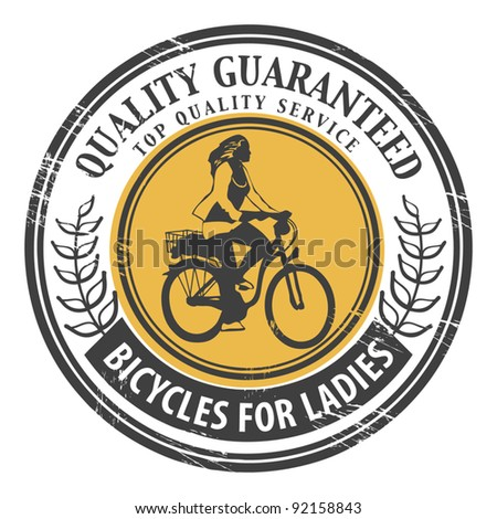 Bicycles for Ladies stamp, vector illustration