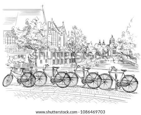 bicycles on bridge over the