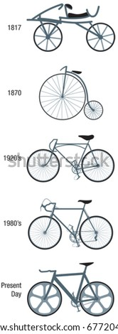 Bicycles through the ages vector illustrations