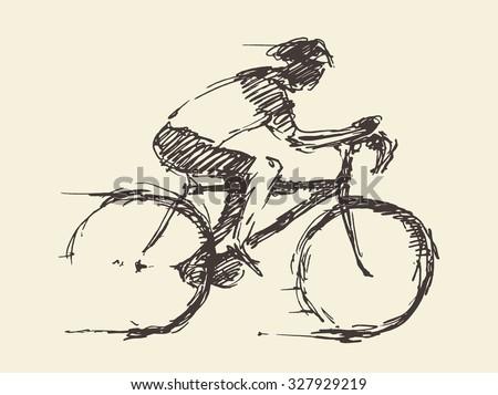 bicyclist rider man with bike
