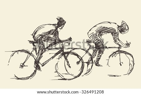 bicyclist rider men with bikes
