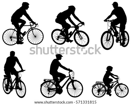 bicyclists silhouettes set - vector