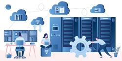 Bid data developers and engineers. Data science and jobs concept. System administrator online monitors the operation of servers. Employees on modern workplace. Wireless control systems. Vector