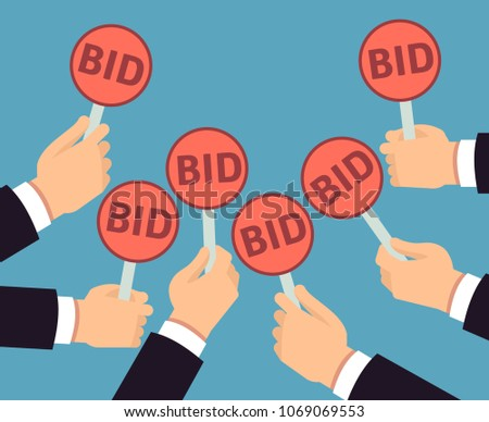 Bidder hands holding auction paddle. Buyer business vector concept. Auction and bidder, business buy auctioning illustration