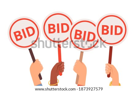 Bidding process. Auction paddles, flat hand holding plates. Finance or business, special offer vector concept ストックフォト ©
