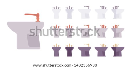 Bidet bathroom set. Washing basin, toilet seat for hygiene, individual sanitary and cleaning in restroom. Vector flat style cartoon illustration isolated on white background, different views, colors